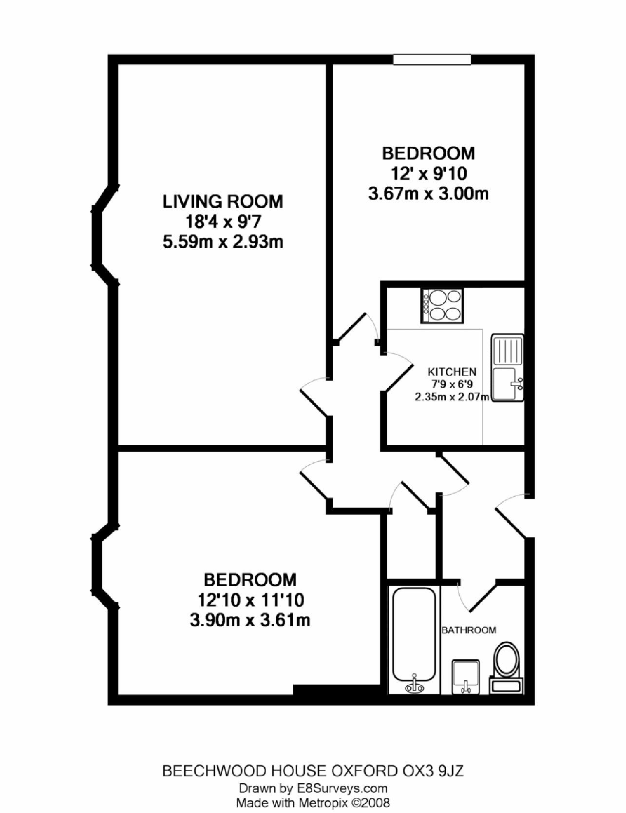Beechwood house headington ox3 ref 25010 oxford for Building plan for two bedroom flat