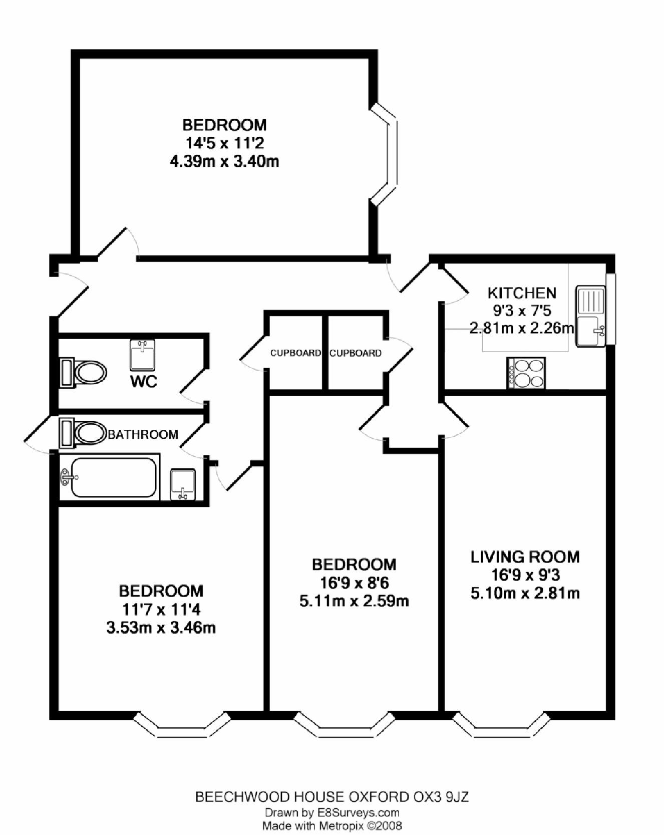 Beechwood house headington ox3 ref 25012 oxford for 3 room flat floor plan