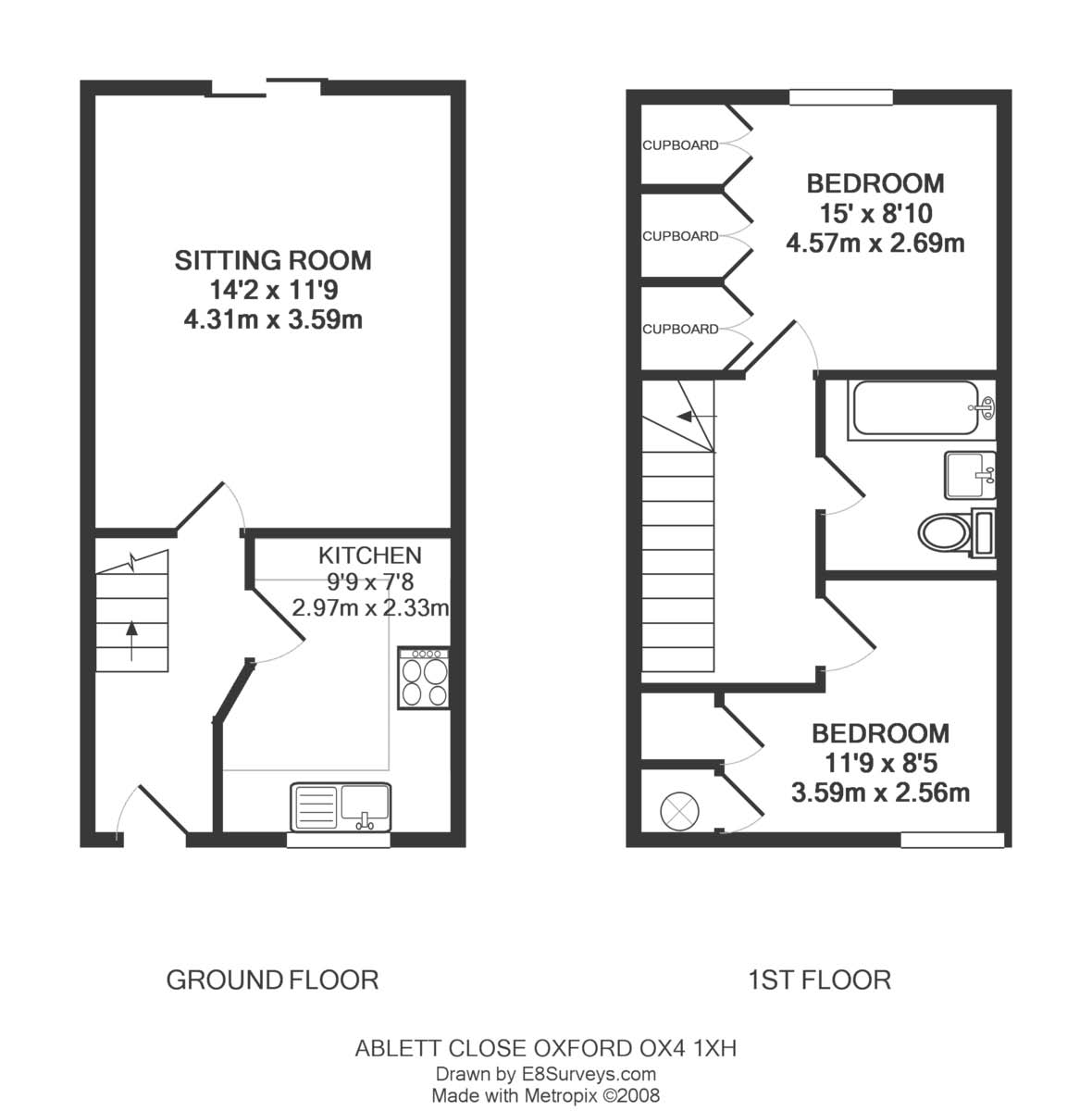 Ablett close east oxford ox4 ref 25133 oxford east for Uk house floor plans