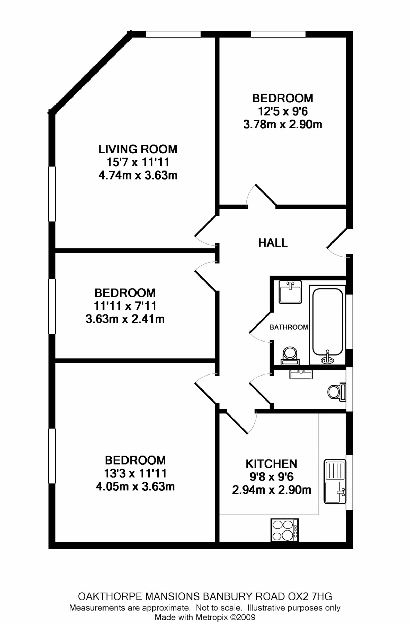 Oakthorpe mansions summertown ox2 ref 3473 oxford for 3 room flat floor plan