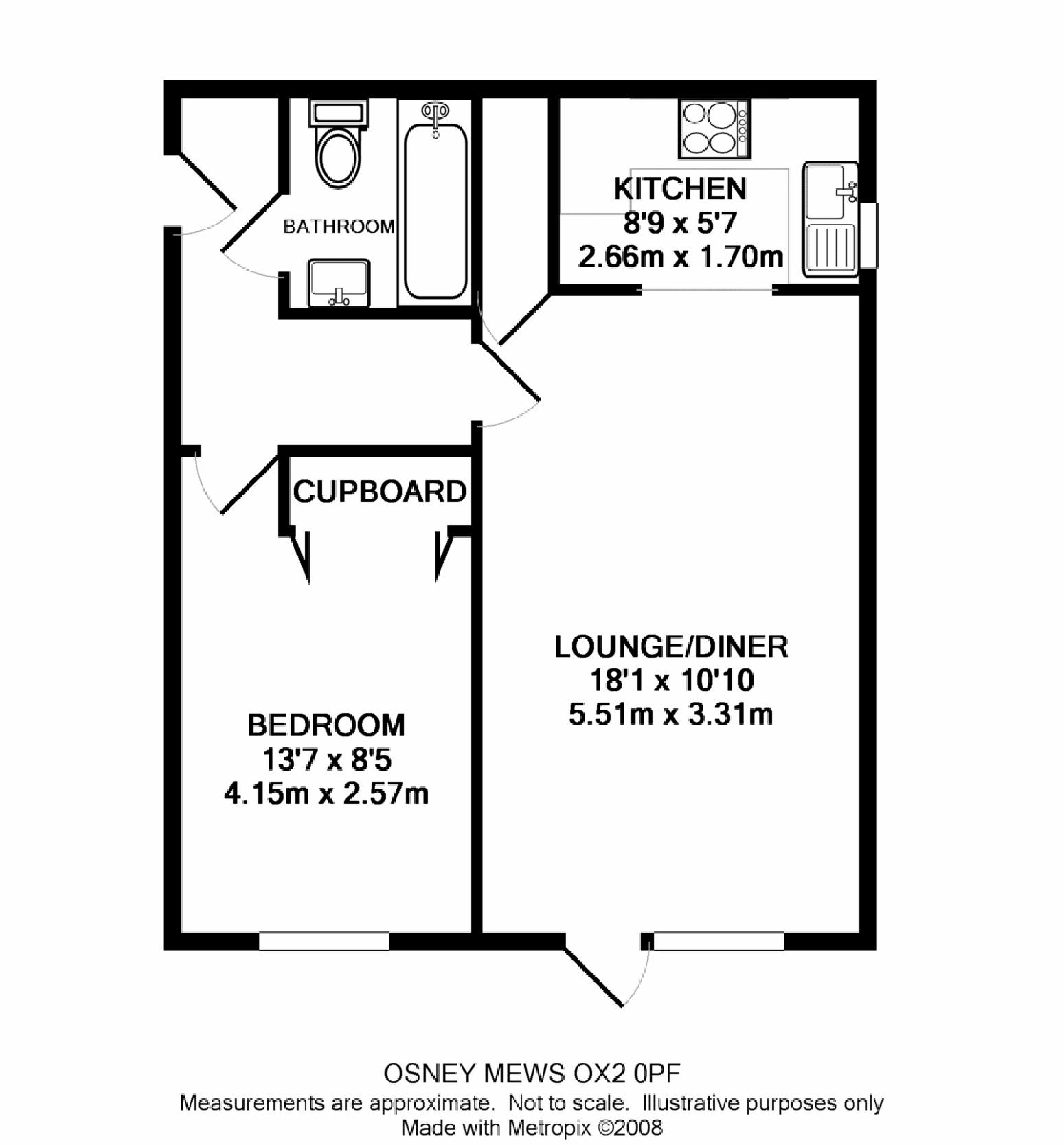 Henry road central oxford ox2 ref 50336 oxford for One bedroom flat floor plan