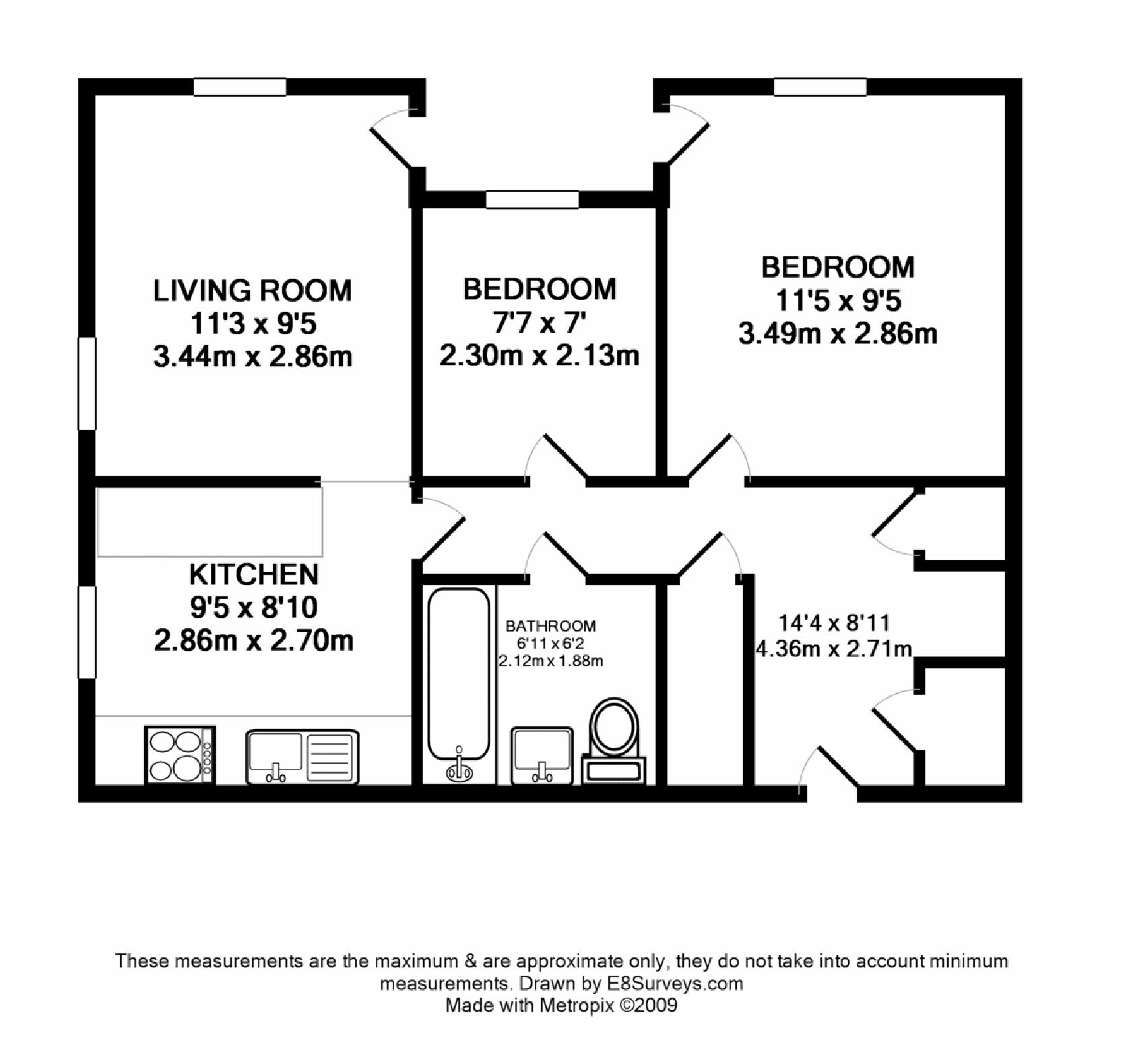 Ground floor unfurnished 2 bedroom apartment ox14 ref for Floor plan design for 2 bedroom flat