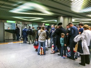 Passport control at Vnukovo International Airport, Moscow